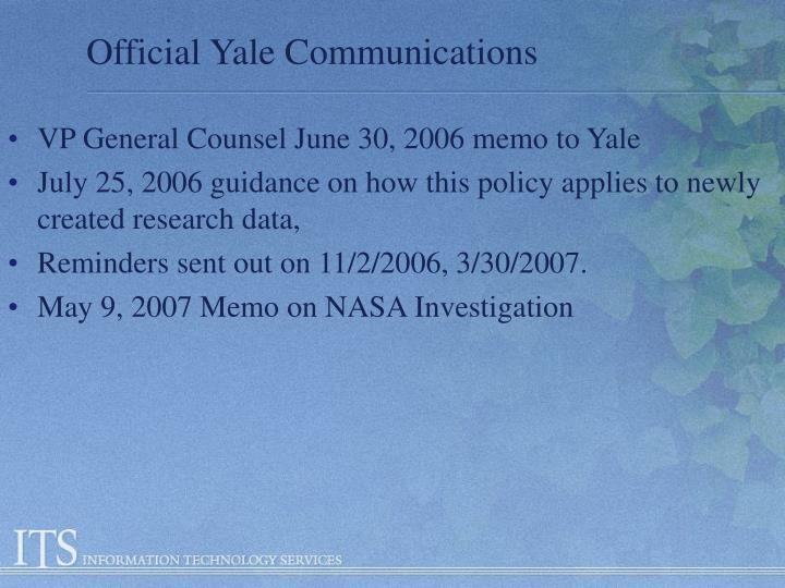 Official Yale Communications