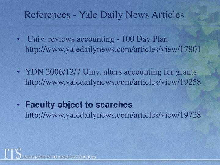 References - Yale Daily News Articles