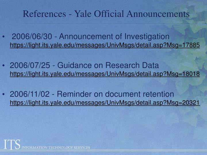 References - Yale Official Announcements