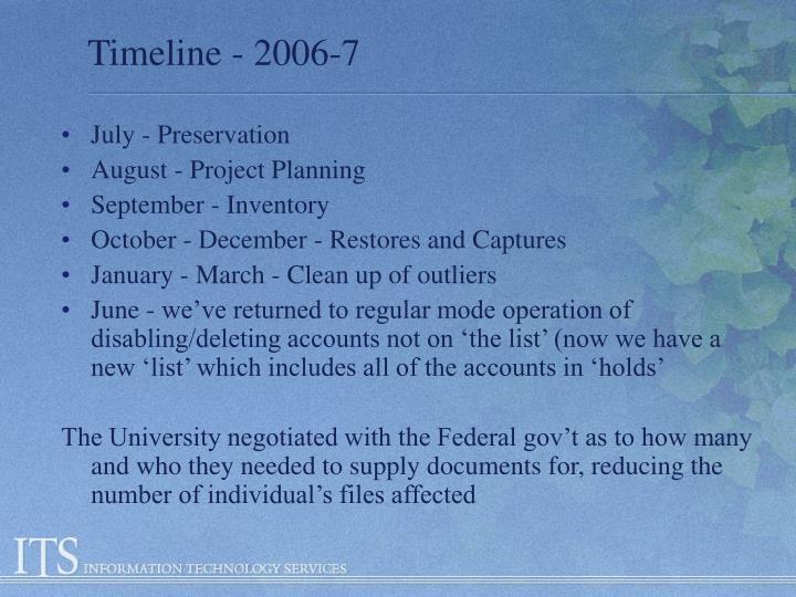 Timeline - 2006-7