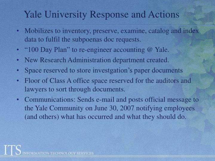 Yale University Response and Actions