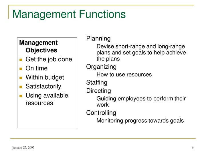 Management Objectives