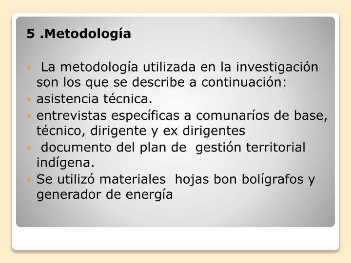 5 .Metodología