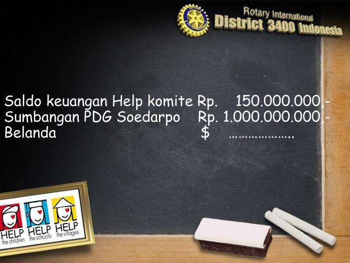 Saldo keuangan Help komite Rp.    150.000.000,-