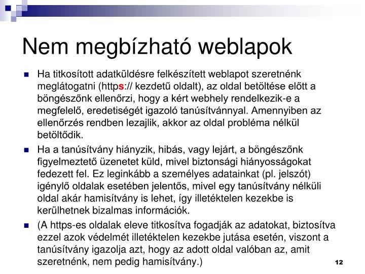 Nem megbzhat weblapok