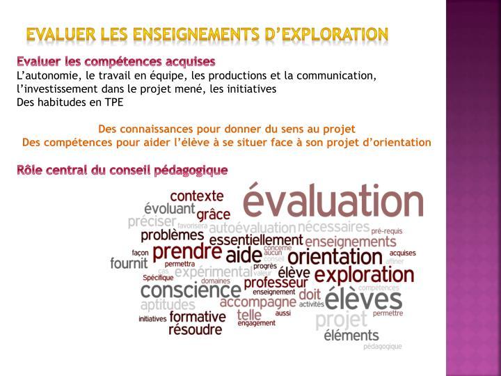 Evaluer les enseignements d'exploration