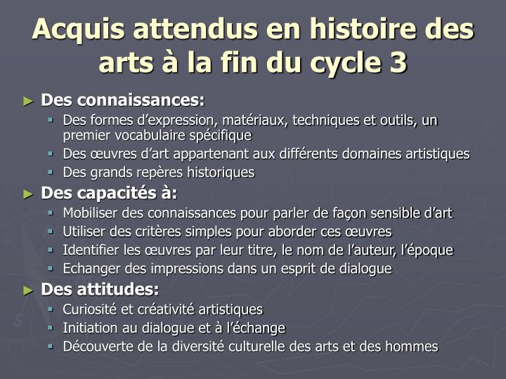 Acquis attendus en histoire des arts à la fin du cycle 3