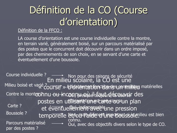Définition de la CO (Course d'orientation)