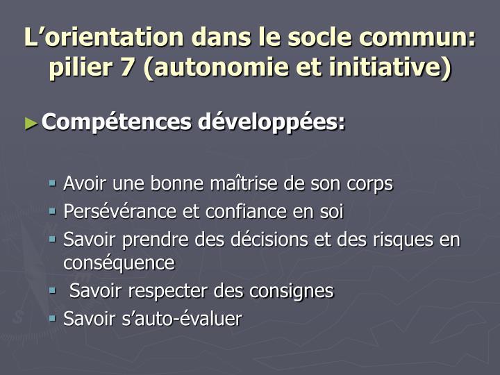 L'orientation dans le socle commun: pilier 7 (autonomie et initiative)