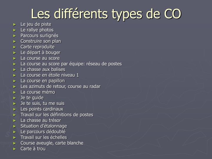 Les différents types de CO