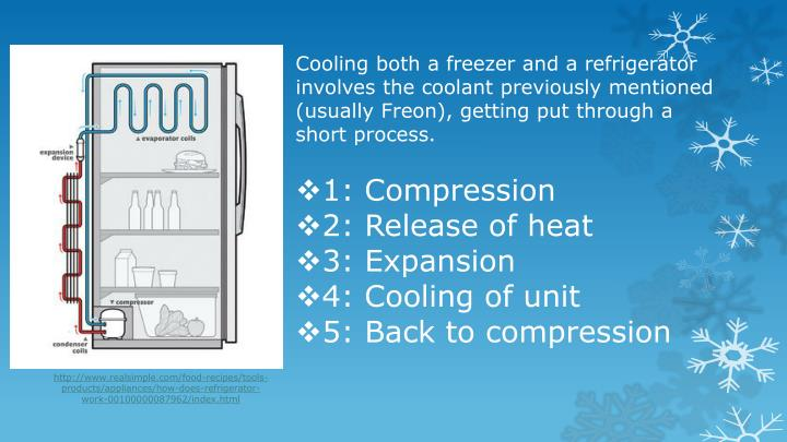 Cooling both a freezer and a refrigerator involves the coolant previously mentioned (usually Freon), getting put through a short process.