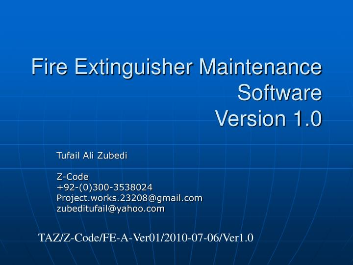 Fire Extinguisher Maintenance Software