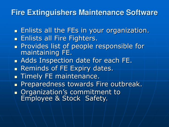 Fire Extinguishers Maintenance Software