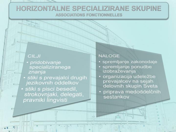 Horizontalne SPECIALIZIRANe skupine