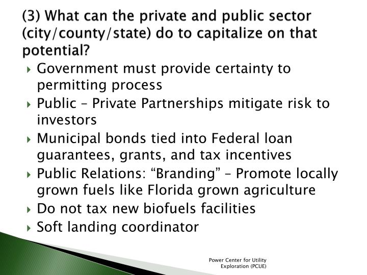 (3) What can the private and public sector (city/county/state) do to capitalize on that potential?