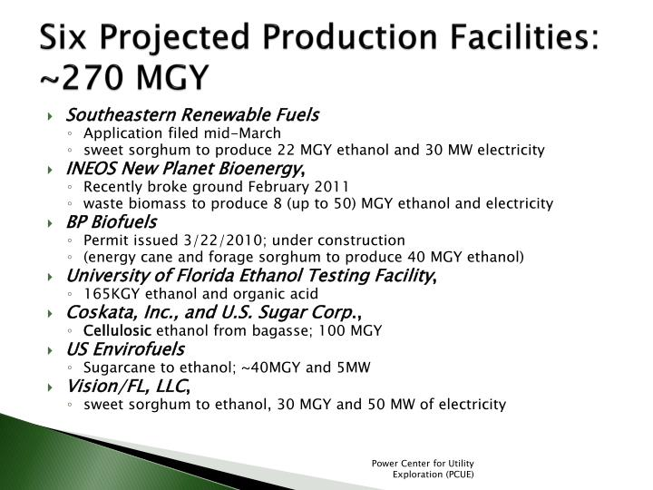 Six Projected Production Facilities: ~270 MGY
