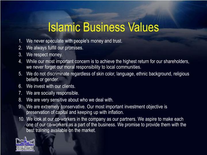 Islamic Business Values