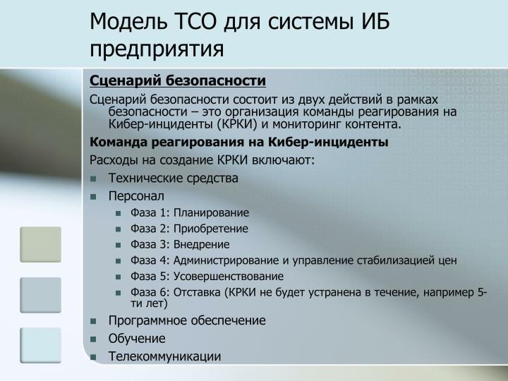Модель TCO для системы ИБ предприятия