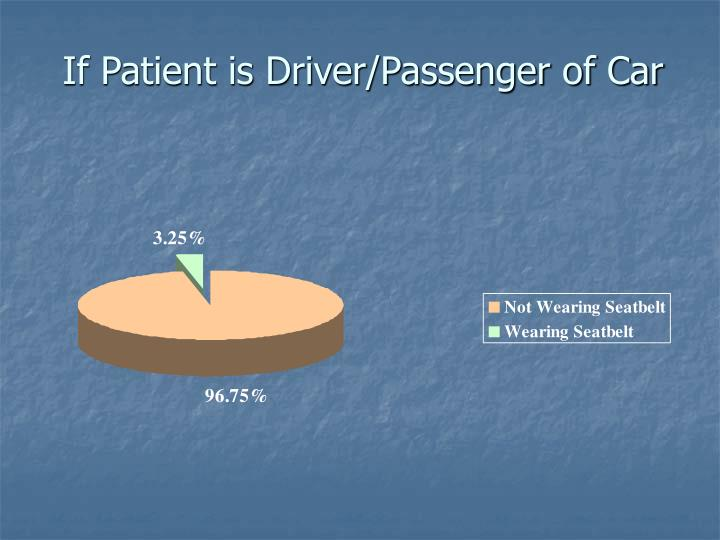 If Patient is Driver/Passenger of Car