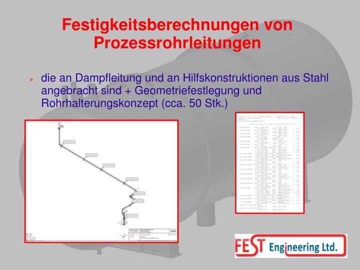 Festigkeitsberechnungen von Prozessrohrleitungen