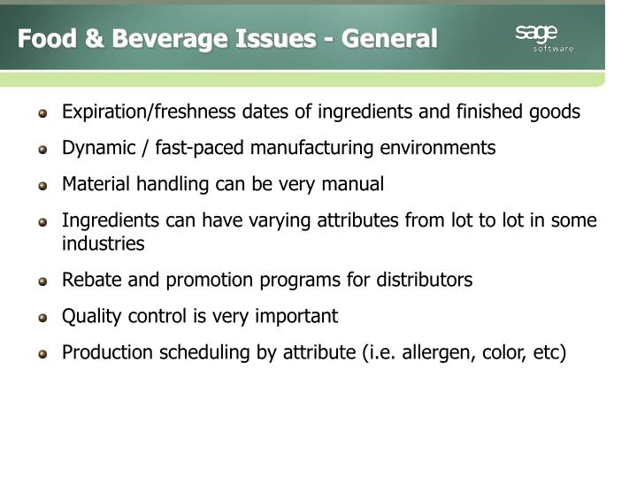 Food & Beverage Issues - General