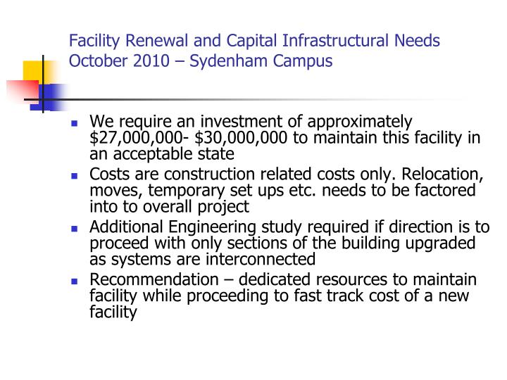 Facility Renewal and Capital Infrastructural Needs
