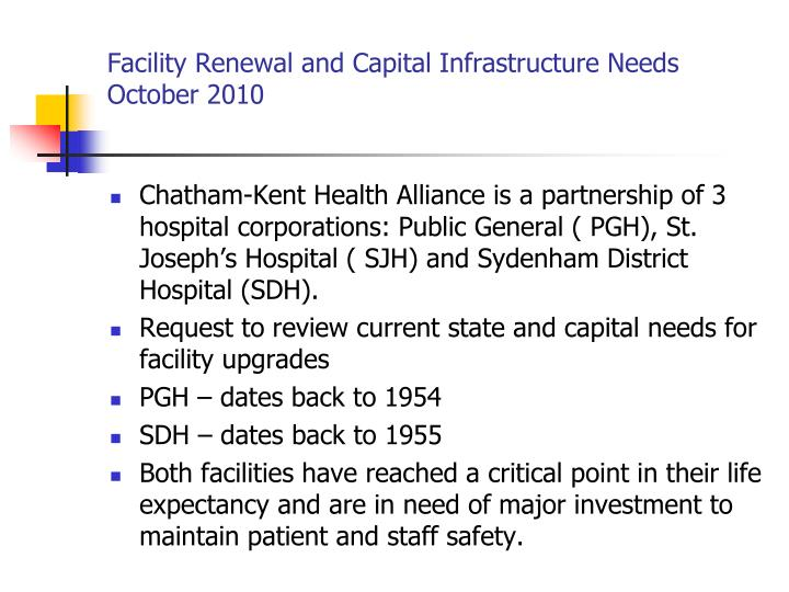 Facility renewal and capital infrastructure needs october 2010