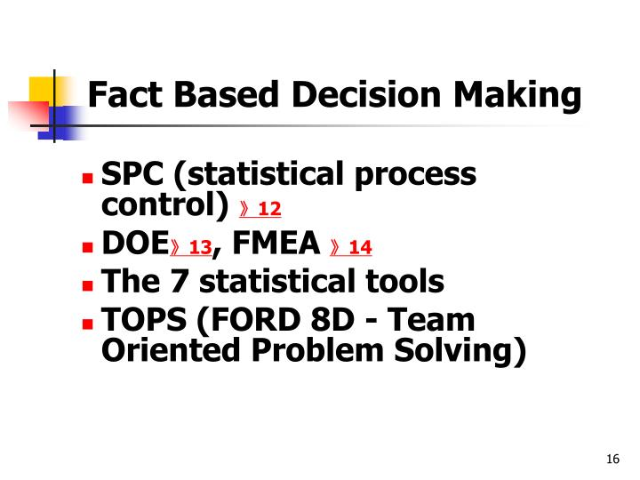 Fact Based Decision Making