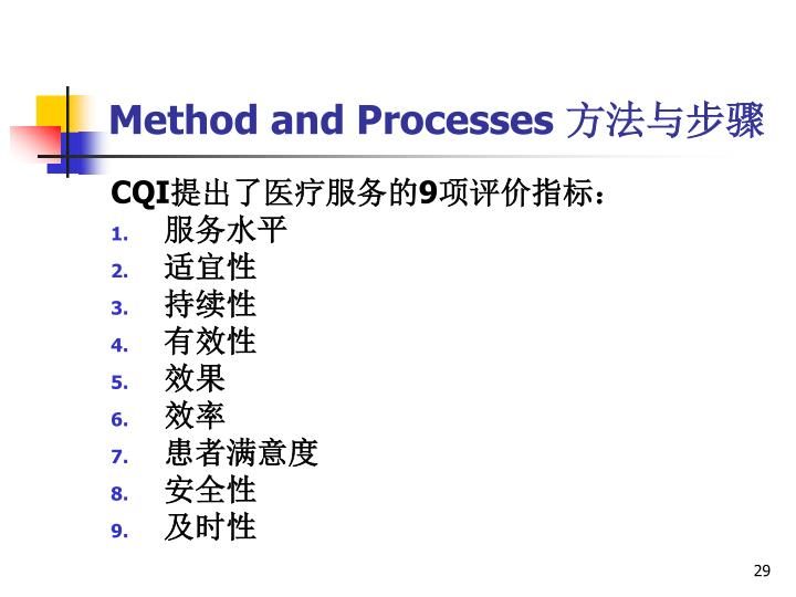 Method and Processes