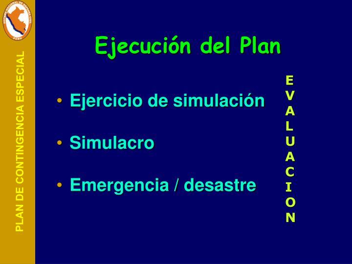 Ejecución del Plan