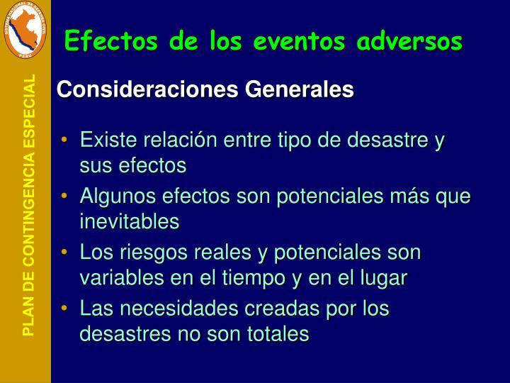 Efectos de los eventos adversos