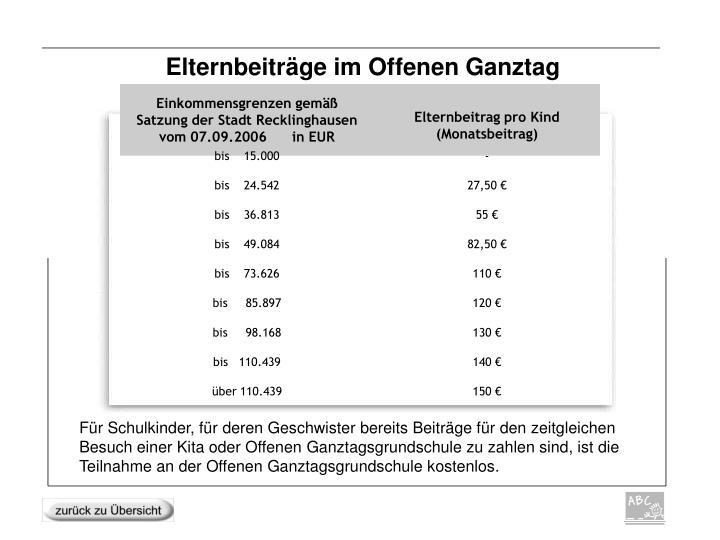 Einkommensgrenzen gemäß