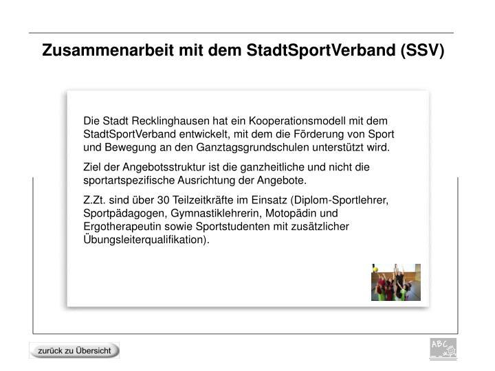 Zusammenarbeit mit dem StadtSportVerband (SSV)