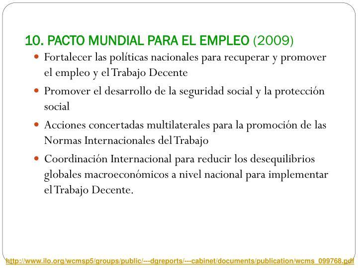 10. PACTO MUNDIAL PARA EL EMPLEO