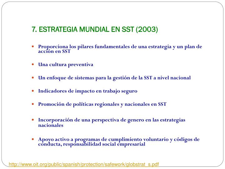 7. ESTRATEGIA MUNDIAL EN SST (2003)