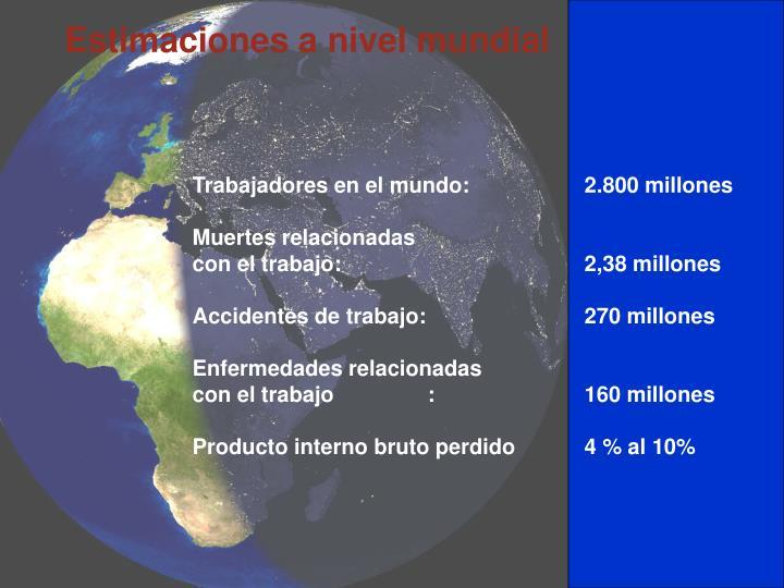 Estimaciones a nivel mundial