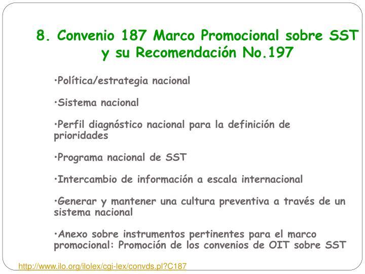 8. Convenio 187 Marco Promocional sobre SST