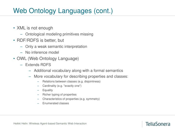 Web Ontology Languages (cont.)