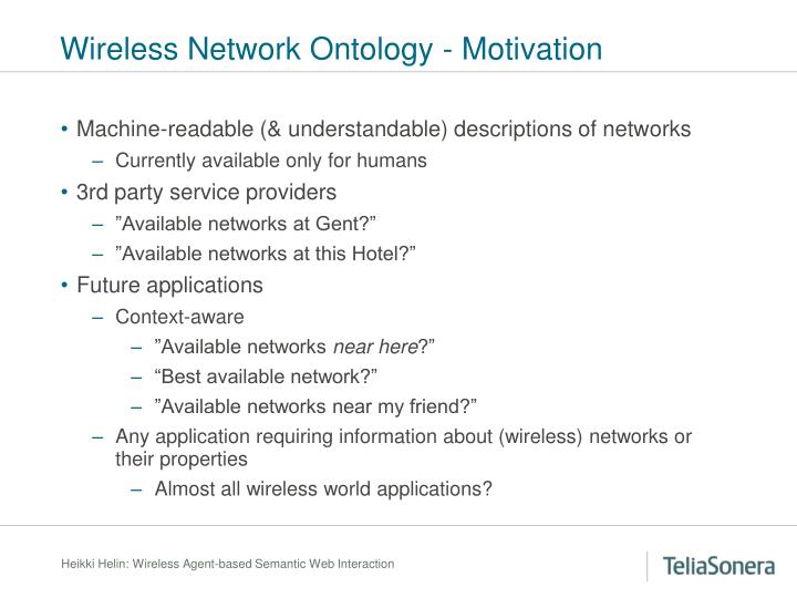Wireless Network Ontology - Motivation