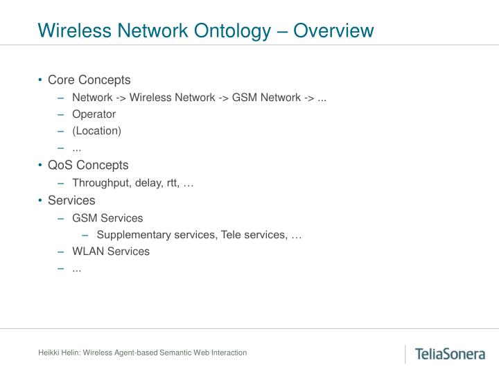Wireless Network Ontology – Overview