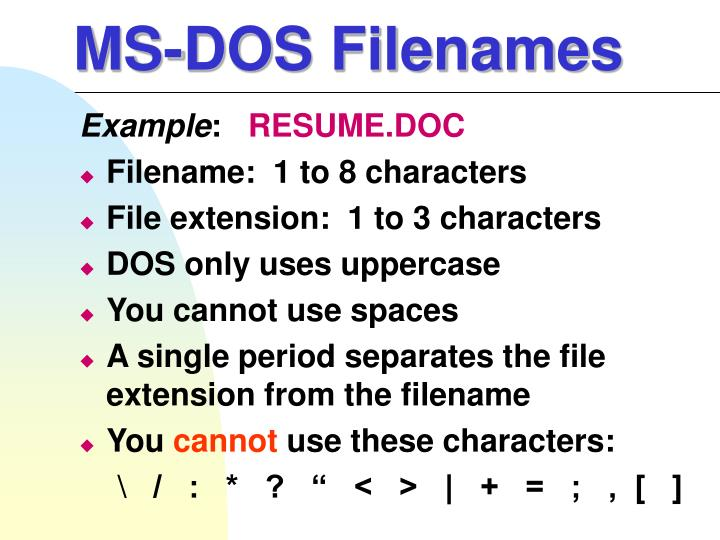 MS-DOS Filenames
