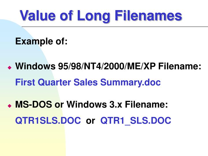 Value of Long Filenames