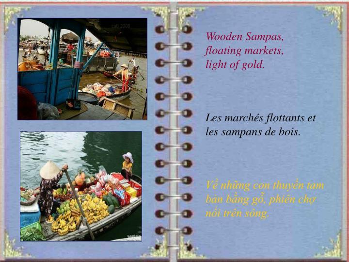 Wooden Sampas, floating markets, light of gold.