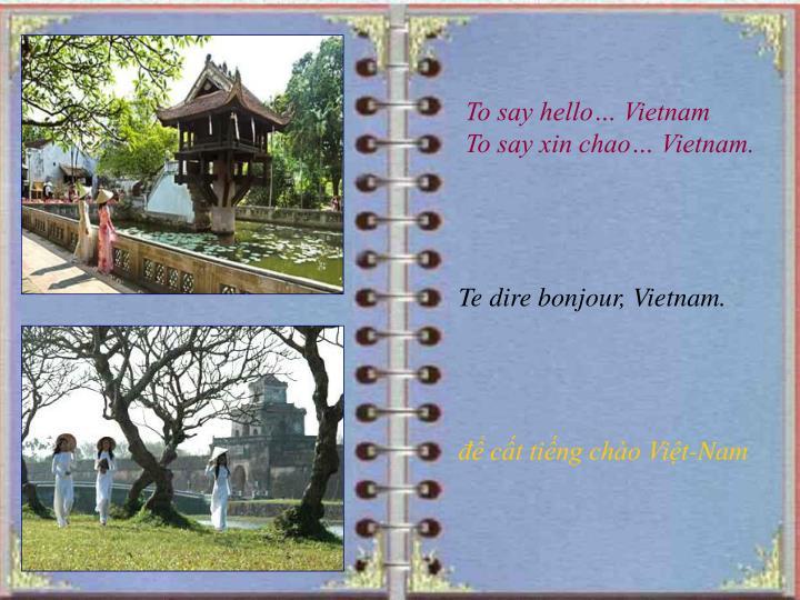 To say hello… Vietnam