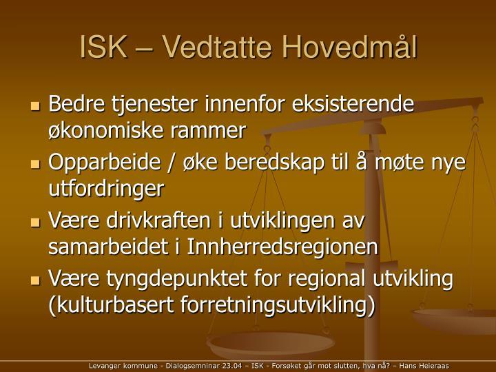 ISK – Vedtatte Hovedmål