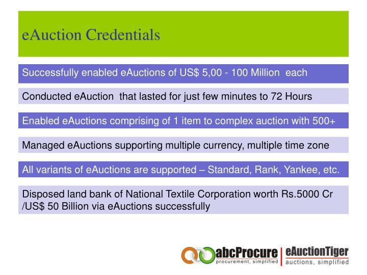 eAuction Credentials
