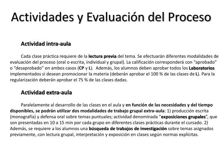 Actividades y Evaluación del Proceso
