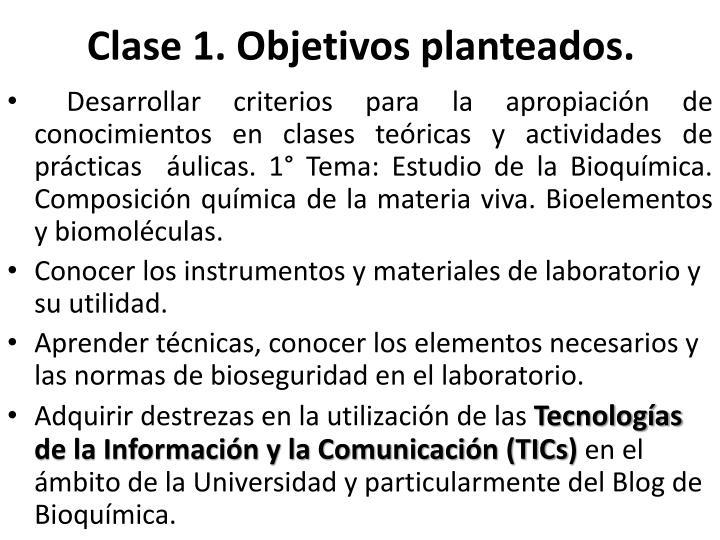 Clase 1. Objetivos planteados.