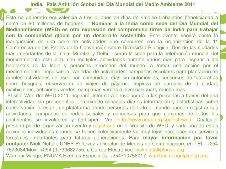 India,  Pas Anfitrin Global del Da Mundial del Medio Ambiente 2011