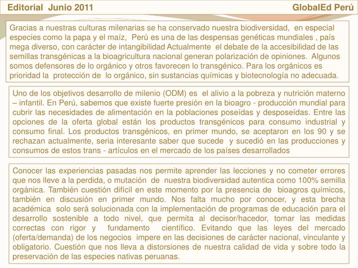 Editorial  Junio 2011                                                                                GlobalEd Per